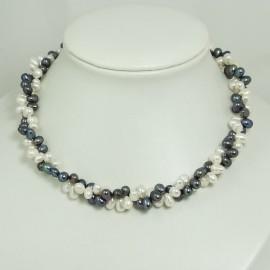 Collier Torsade Perles d'eau douce Blanche Noire