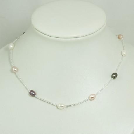 Collier Fin Perle d'Eau Douce Multicolore