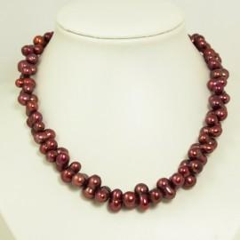 Collier perles d'eau douce baroques couleur bordeaux  - 8x14mm