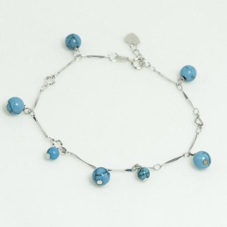 Bracelet Magnésite Chaîne plaqué rhodium
