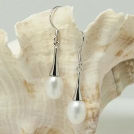 Boucles d'Oreilles en Argent et Perles d'Eau Douce Blanche