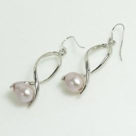 Boucles d'Oreilles Perles d'Eau Douce lavandes et Plaqué Rhodium