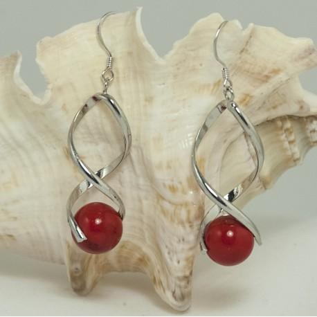 Boucles d'Oreilles torsadées  Magnésite rouge