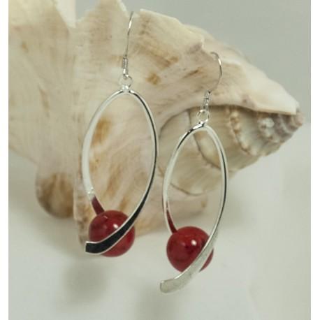 Boucles d'Oreilles en Magnésite rouge