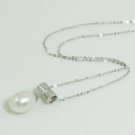 Pendentif Perles d'Eau Douce Blanche