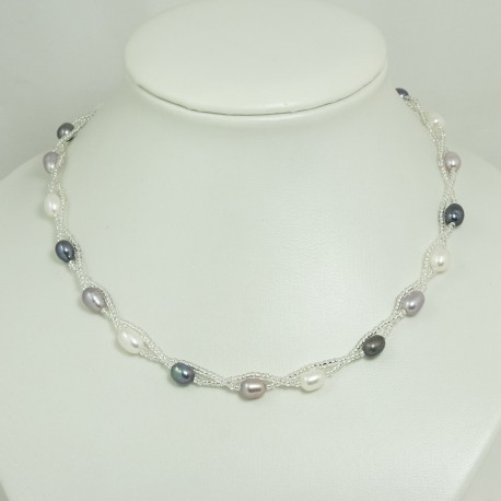 Collier Perle d'Eau Douce Torsadé Multicolore