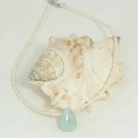 Collier Perle d'Eau Douce et Pendentif Pierre Amazonite