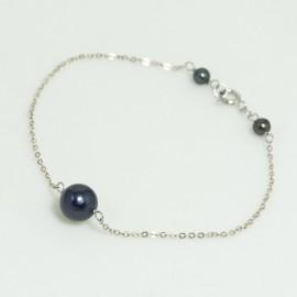 Bracelet  fin Perle d'Eau Douce Noire Chaîne argent