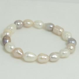 Bracelet Perle d'Eau Douce Baroque Multicolore