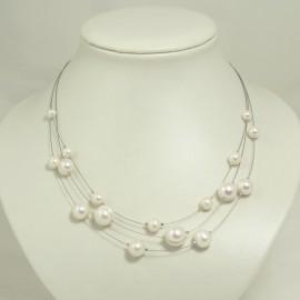 Collier Perle d'Eau Douce et Câble d'Acier