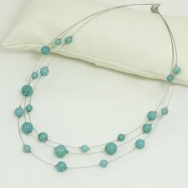 Collier trois rangs Magnésite couleur turquoise