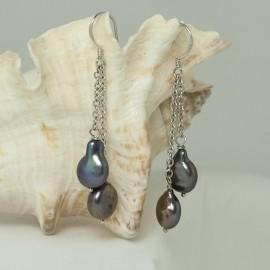 Boucles d'Oreilles Perles d'Eau Douce blanches et Plaqué Rhodium