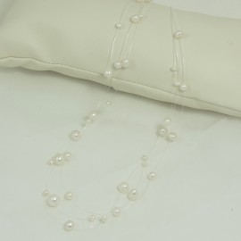 Collier Perle d'Eau Douce Blanche Fil Transparent