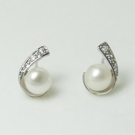 Boucles d'Oreilles Perles d'Eau Douce et Plaqué Rhodium