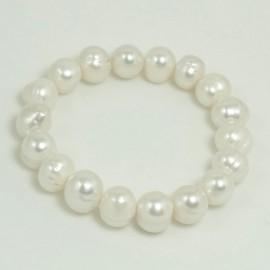 Bracelet Perle d'Eau Douce Baroque Blanche  10/10,5mm