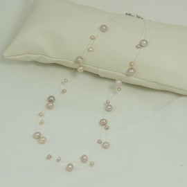 Collier Perle d'Eau Douce Rose  Fil Transparent