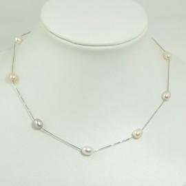 Collier fin perles d'eau douce multicolores Chaîne Argent