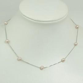 Collier fin perles d'eau douce lavandes Chaîne Argent