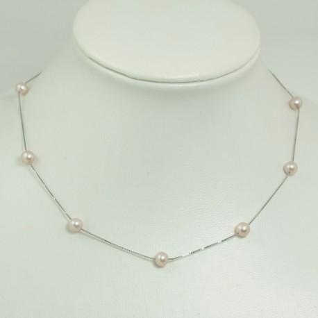 Collier fin perles d'eau douce blanches Chaîne Argent