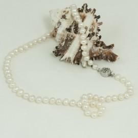 Collier perles d'eau douce blanches  7.5/8mm