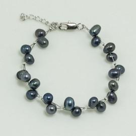 Bracelet Perle d'Eau Douce Baroque Noire