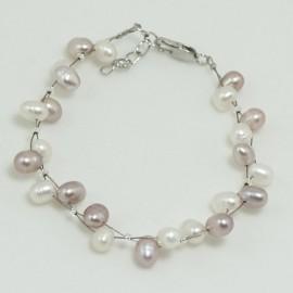 Bracelet Perle d'Eau Douce Baroque Blanche Lavande