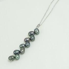 Pendentif Collier Argent Rhodié en Perles d'Eau Douce