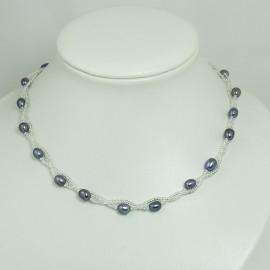 Collier Perle d'Eau Douce Torsadé Noire