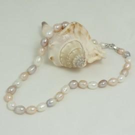 55 cm collier- Perles d'eau douce- 8.5x10mm ovale