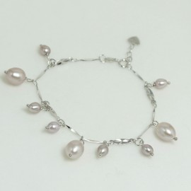 Bracelet Perle d'Eau Douce Lavande Ovale