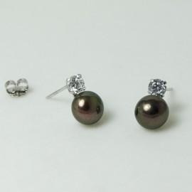 Boucles d'Oreilles Argent et Perles d'Eau Douce chocolats