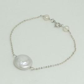 Bracelet  fin Perle d'Eau Douce Baroque Chaîne argent