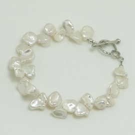 Bracelet Perle d'Eau Douce Blanche Baroque
