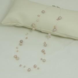 Collier Perle d'Eau Douce Rose  Fil Transparent